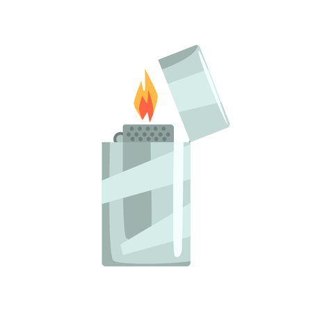 gas lighter: Silver metal   lighter vector Illustration isolated on a white background