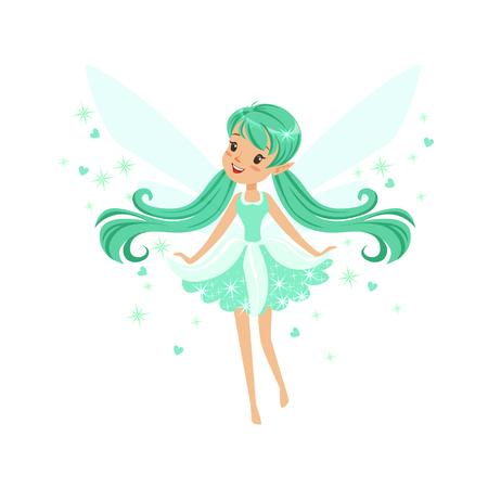 Beautiful smiling turquoise Fairy girl flying colorful cartoon character vector Illustration isolated on a white background Illustration