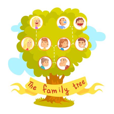 Arbre généalogique avec des portraits de parents, vecteur d'arbre généalogique Illustration isolée sur fond blanc Vecteurs