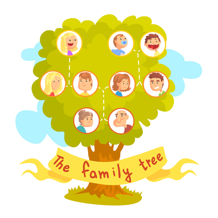 Family tree with portraits of relatives, genealogical tree vector Illustration isolated on a white background Çizim