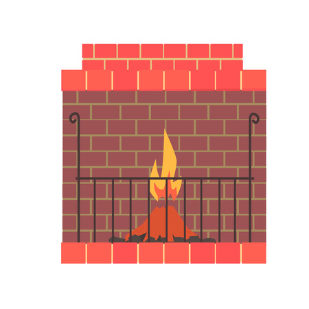 Brick home fireplace with fire vector Illustration isolated on a white background Illustration