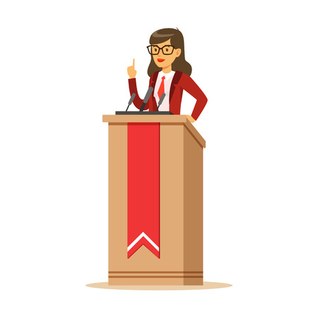 Young politician woman standing behind rostrum and giving a speech, public speaker character vector Illustration isolated on a white background Ilustração