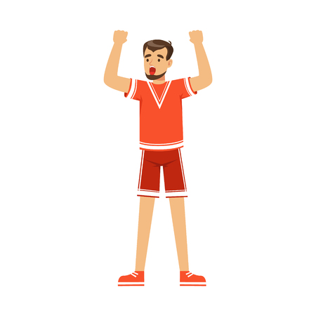 soccer goal: Cheering football fan character in red celebrating the victory of his team vector Illustration isolated on a white background