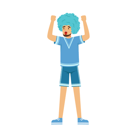 Happy bearded football fan character in blue wig celebrating the victory of his team vector Illustration isolated on a white background