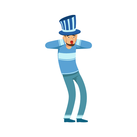 Happy football fan character in blue hat celebrating the victory of his team vector Illustration isolated on a white background