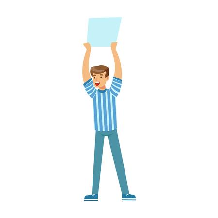 Lachende voetbal fan karakter in blauw bedrijf blanco banner over zijn hoofd vector Illustratie geïsoleerd op een witte achtergrond