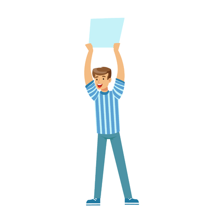 thrilled: Smiling football fan character in blue holding blank banner over his head vector Illustration isolated on a white background Illustration