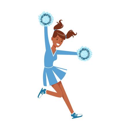 Cheerleading meisje sport ondersteuning dansen met pompoms karakter vector illustratie geïsoleerd op een witte achtergrond