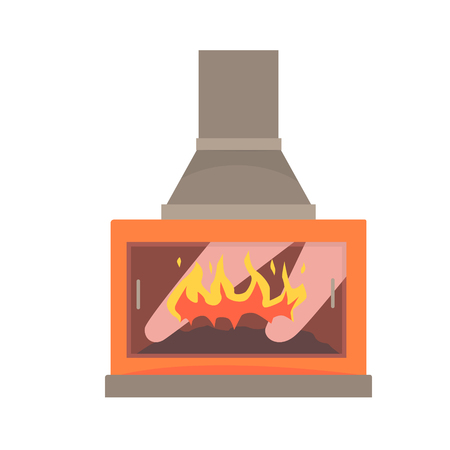 Modern gas or electric fireplace vector Illustration isolated on a white background
