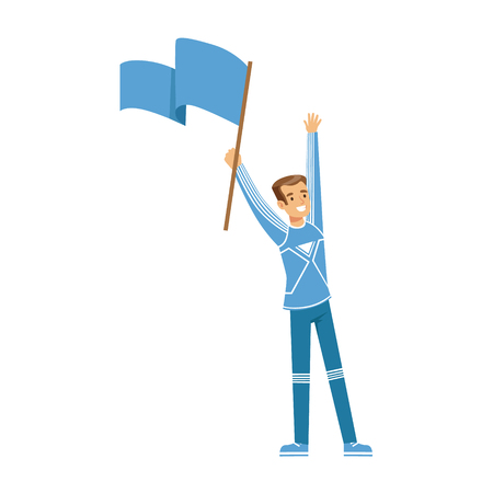 Lachende voetbal fan personage in blauw bedrijf vlag van zijn team en het vieren van de overwinning vector illustratie geïsoleerd op een witte achtergrond Stock Illustratie