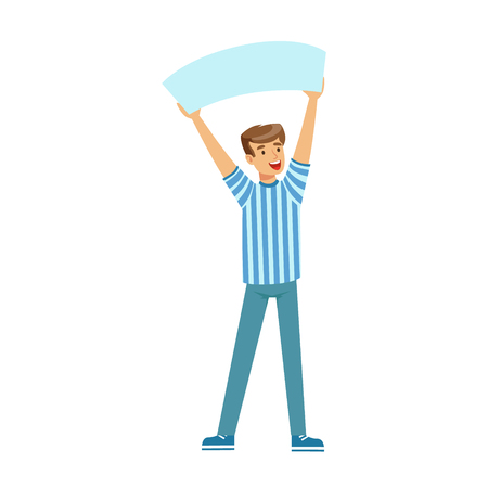 sport fan: Cheering football fan character in blue holding blank banner over his head vector Illustration isolated on a white background