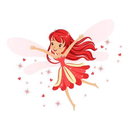 Beautiful smiling red Fairy girl flying colorful cartoon character vector Illustration isolated on a white background Vectores