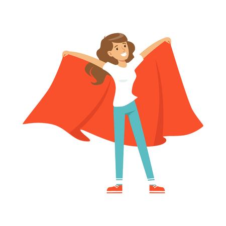 Glimlachend voetbal fan meisje teken in rood staan en rode vlag houden op haar schouders vector illustratie geïsoleerd op een witte achtergrond Stock Illustratie