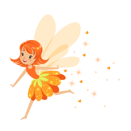 elves: Beautiful smiling orange Fairy girl flying colorful cartoon character vector Illustration isolated on a white background