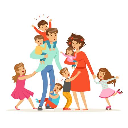 Große Familie mit vielen Kindern. Kinder, Babys und ihre müden Eltern vector Illustration lokalisiert auf einem weißen Hintergrund