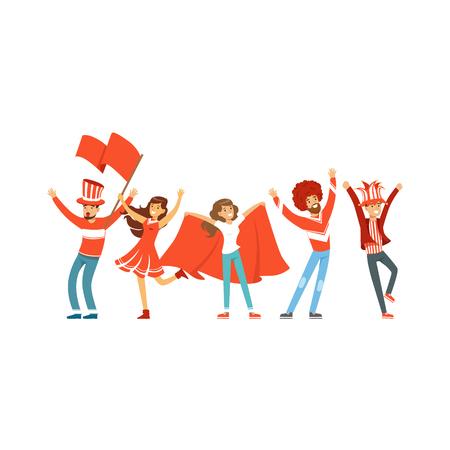 Groep sportfans in rode outfit met vlaggen ter ondersteuning van hun team vector illustratie geïsoleerd op een witte achtergrond
