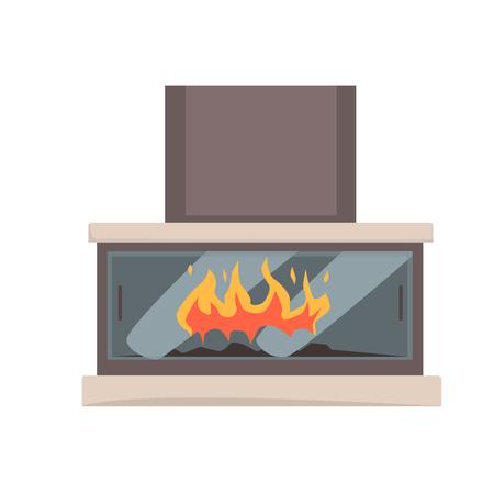 現代ガスまたは電気暖炉ベクトル図  イラスト・ベクター素材
