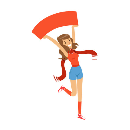 Smiling football fan girl character in red holding blank banner over her head vector Illustration 일러스트