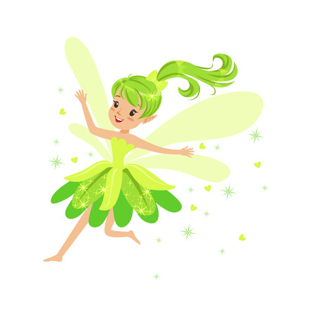 Beautiful smiling green Fairy girl flying colorful cartoon character vector Illustration Иллюстрация