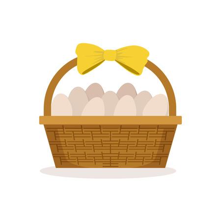 노란 활 바구니 신선한 농장 계란의 전체 벡터 일러스트