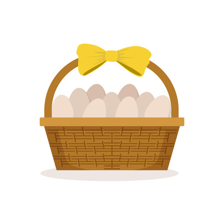 Basket with yellow bow full of fresh farm eggs vector Illustration Illustration