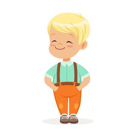 Sweet smilng little blonde boy standing colorful cartoon character vector Illustration isolated on a white background Иллюстрация
