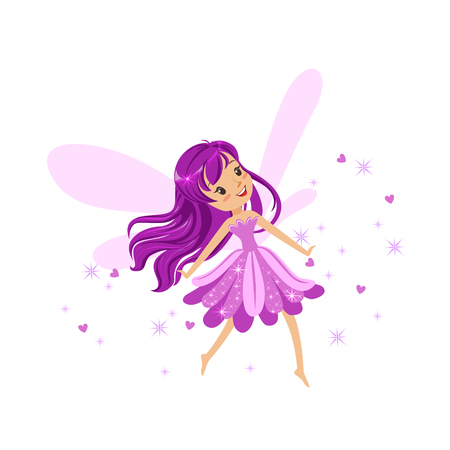 elves: Beautiful smiling purple Fairy girl flying colorful cartoon character vector Illustration Illustration
