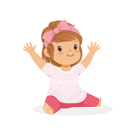 causal: Cute little girl sitting dressed in casual clothes colorful cartoon character vector Illustration