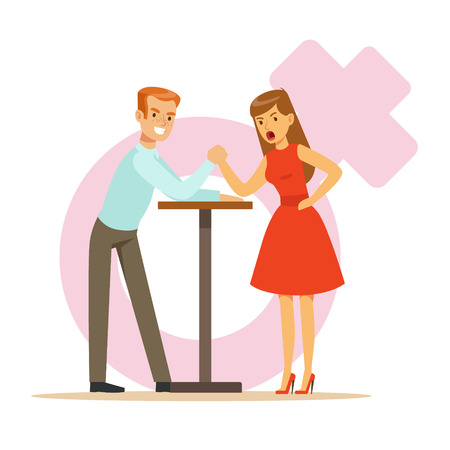 Man and woman with hands clasped arm wrestling, girlfriend confronts her boyfriend colorful characters vector Illustration
