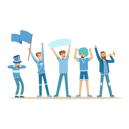 Group of sport fans in blue outfit supporting their team vector Illustration