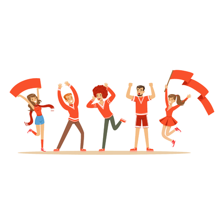 Groep sportfans in rode uitrusting ondersteunend hun team die en vectorillustratie schreeuwen toejuichen