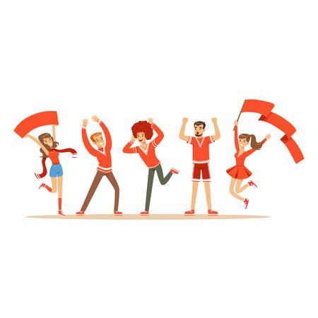 Grupo de fanáticos del deporte en traje rojo apoyando a su equipo gritando y animando a vector