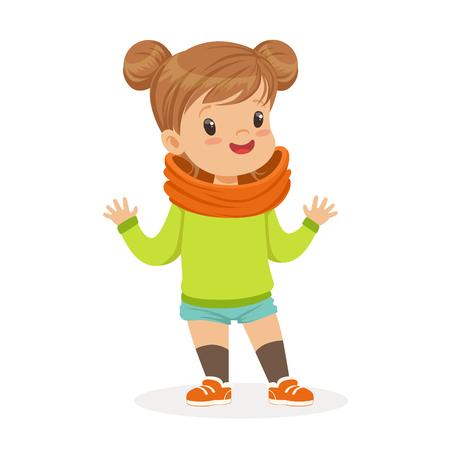 カジュアルな服装カラフルな漫画文字ベクトル図に身を包んだ甘い笑顔の女の子