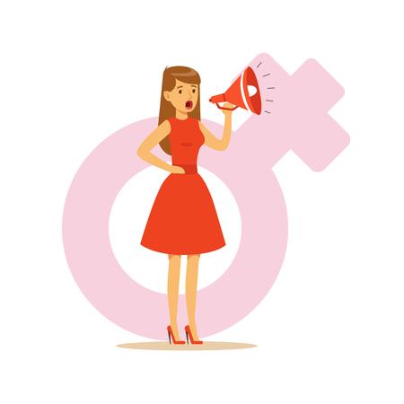 Vrouw in een rode kleding die in een megafoon, vectorillustratie van het feminisme de kleurrijke karakter vectorillustratie op achtergrond van een vrouwelijk roze geslachtsymbool schreeuwen Stock Illustratie