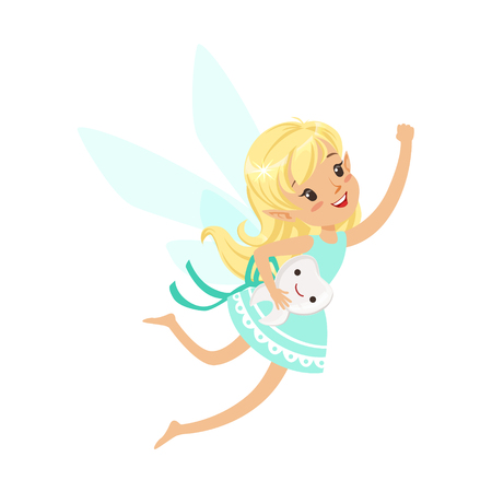 Beautiful sweet blonde Tooth Fairy girl flying with smiling tooth colorful cartoon character vector Illustration isolated on a white background Çizim