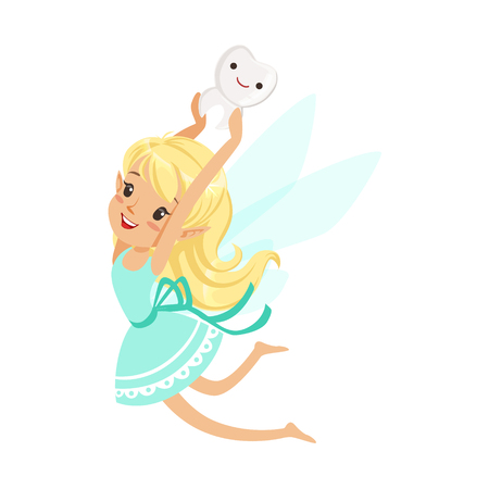 mythological character: Cute cartoon blonde Tooth Fairy girl flying and bearing tooth above the head colorful character vector Illustration isolated on a white background