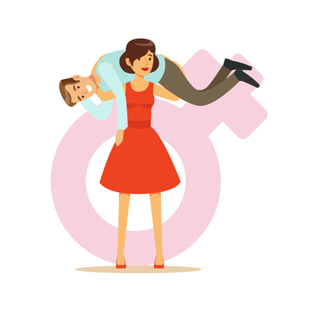 Woman in a red dress holding man on her shoulders, feminism colorful characters vector Illustration on background of a female pink gender symbol Illustration