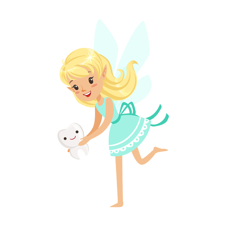 Beautiful sweet blonde Tooth Fairy girl holding smiling tooth colorful cartoon character vector Illustration isolated on a white background