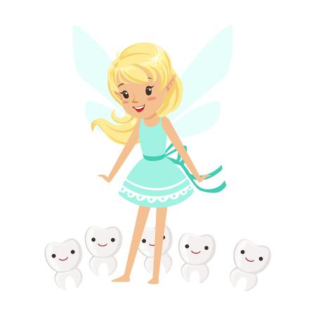 白地にカラフルな漫画文字ベクトル図が分離された歯の笑顔に囲まれて立っている美しい甘い金髪歯の妖精少女