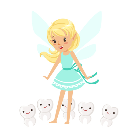 Beautiful sweet blonde Tooth Fairy girl standing surrounded by smiling teeth colorful cartoon character vector Illustration isolated on a white background Illustration