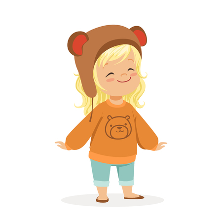 causal: Cute little blonde girl dressed in a brown bear hat and a sweater with teddy bear colorful cartoon character vector Illustration isolated on a white background.