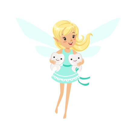 Beautiful sweet smiling blonde Tooth Fairy girl flying and holding two teeth colorful cartoon character vector Illustration Vettoriali