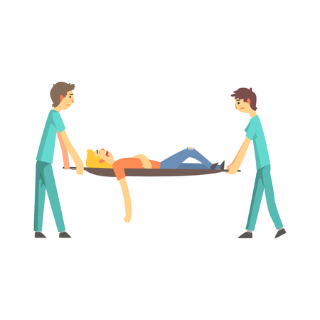 Paramedic giving help to an injured person after accident cartoon characters vector Illustration isolated on a white background