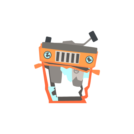 Red car overturned damaged by accident cartoon vector Illustration isolated on a white background Illustration