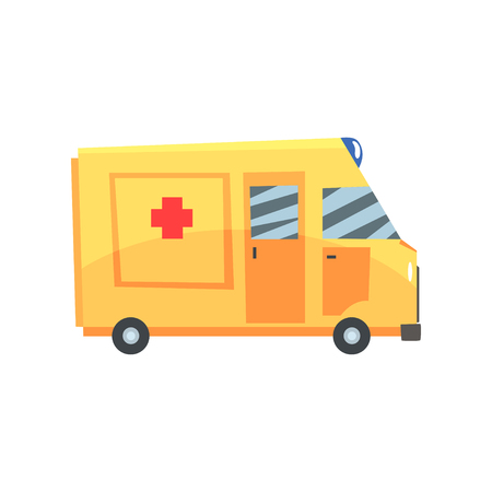 Yellow ambulance car, emergency medical service vehicle cartoon vector Illustration isolated on a white background