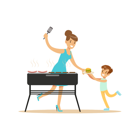 dinner party: Mother with her son preparing sausages and burgers on a grill outdoors vector Illustration isolated on a white background