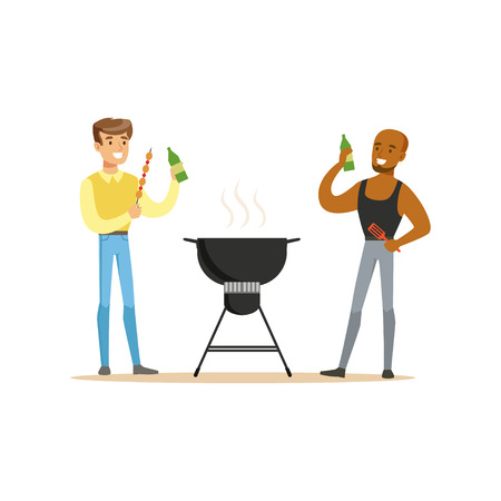 Two friends preparing barbecue on a grill and drinking beer vector Illustration isolated on a white background Illustration
