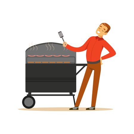 cookout: Smiling man preparing sausages and steaks on a barbecue grill vector Illustration isolated on a white background