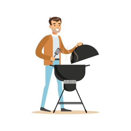 Smiling man preparing barbecue on a grill vector Illustration isolated on a white background