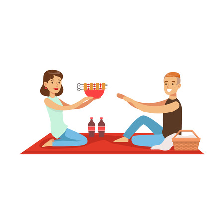 Happy couple having outdoor barbeque picnic, man and woman characters in love sitting on a picnic plaid vector Illustration isolated on a white background
